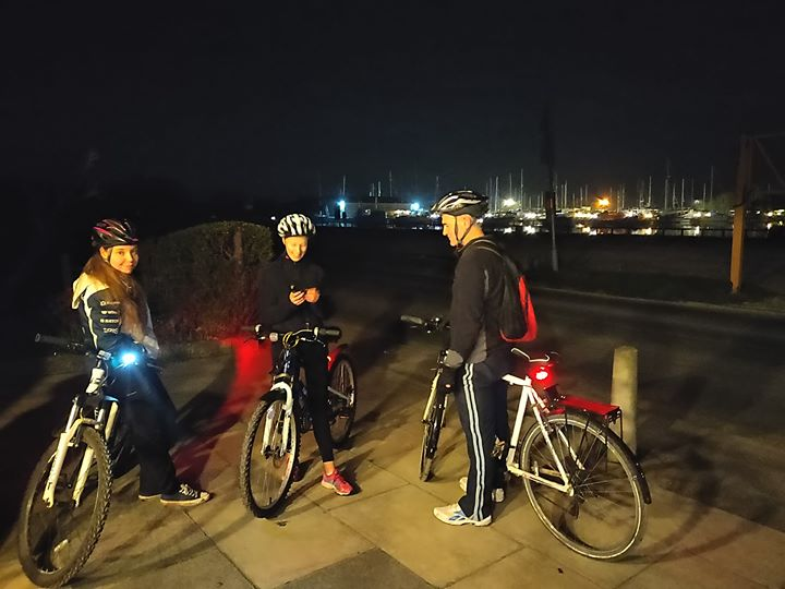 Cubs went on a night time bike ride tonight. Brrr.